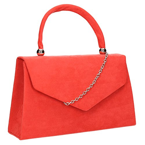 SwankySwans Womens Kendall Suede Envelope Party Prom Clutch Bag Clutch Coral