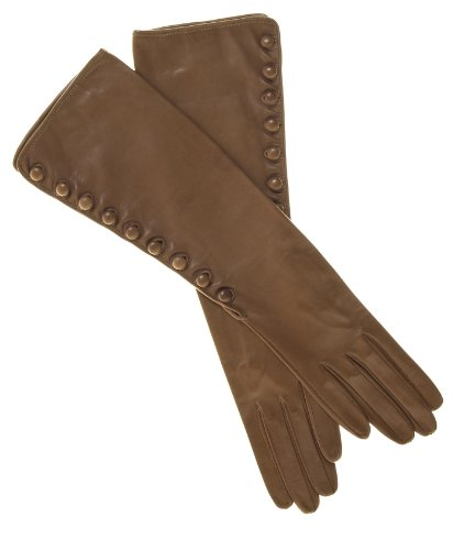 Fratelli Orsini Women's Elbow Length Silk Lined Lambskin Gloves With Buttons Size 6 1/2 Color Camel by Fratelli Orsini