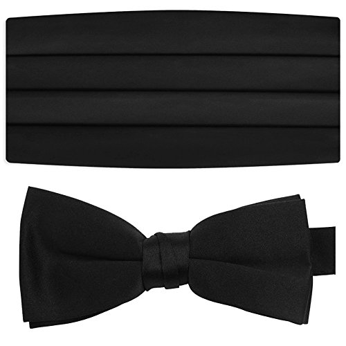 Kyle+Thomas+Men%27s+2%22+Satin+Bow+Tie+Banded+and+Men%27s+4+Pleat+Satin+Cummerbund+%28Black%29