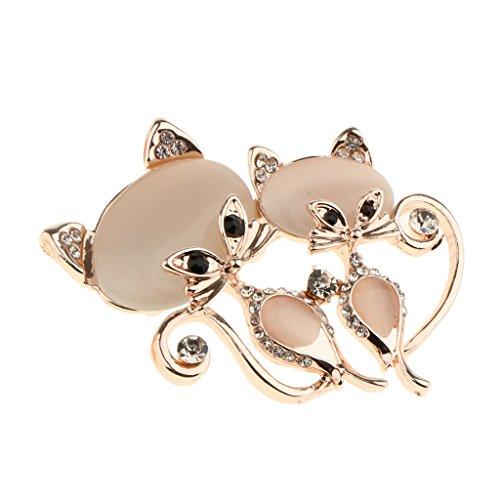 Fox Gold Brooch - Homyl Elegant Opal Rhinestone Fox Brooch Pin Jewelry Daily Decor Accessory Gift - Rose Gold