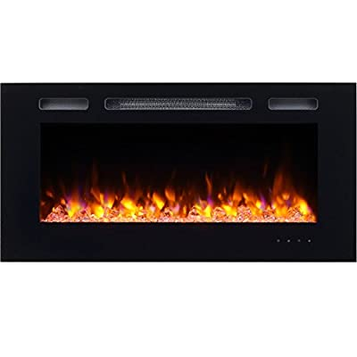 PuraFlame Alice Recessed Electric Fireplace, Wall Mounted for 2 X 6 Stud, Log set & Crystal, 1500W heater, Black