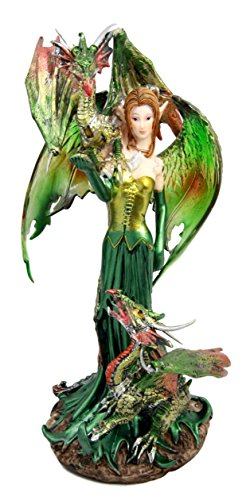 Atlantic Collectibles Emerald Elf Fairy With 2 Green Guardian Dragons Figurine 9