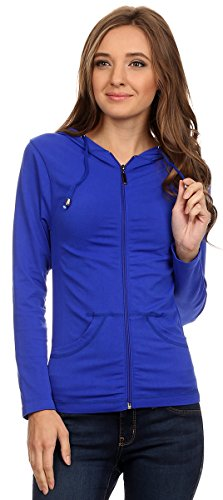 Royal Blue Jacket - Lotus Lightweight 4-Way Stretch Hooded Active Yoga Fitness Zumba Jacket with Pokets Zip Up (Royal Blue)