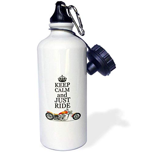 Keep Calm Just Ride Cool Motorcycles Saying White Sports Water Bottle Stainless Steel Insulator Cup Biking Camping 21oz