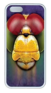 Dragonfly Face TPU Silicone Case Cover for iPhone 5/5S White