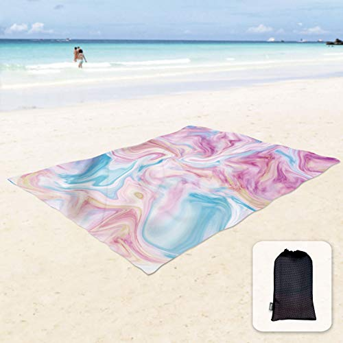 Sunlit Silky Soft Sand Proof Beach Blanket Sand Proof Mat with Corner Pockets and Mesh Bag 6 x 7 for Beach Party, Travel, Camping and Outdoor Music Festival, Water Wave, Macaron Pink and Blue