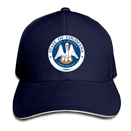 - Louisiana State Flag Logo Durable Baseball Cap Hats,Adjustable Peaked Sandwich Cap Navy
