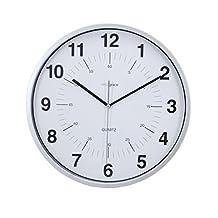 "Kiera Grace Synchro, Silent Wall Clock, Non-Ticking, 12 Inch, 3/4"" Deep, Silver"