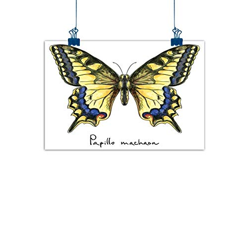 Sunset glow Fabric Cloth Rolled Swallowtail Butterfly,Common Yellow Papilio Machaon in Watercolors Fragile Beauty,Yellow Blue Black for Bathroom Bedroom Pictures ()