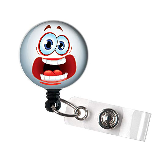 LOVEKITTY - Halloween Emoji Funny Funky Face Retractable ID Badge Reel Swivel Clip/Name Badges/ID Badge Holder/Doctor Nursing Badge/Coworker Teacher Nurse Great Gift Idea -