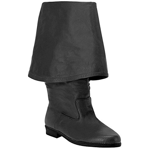 Summitfashions Mens Cuff Pirate Boots Black Leather 1 1/2 Inch Heel Costume Boots MENS SIZING Size: -