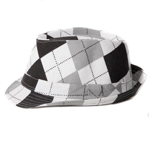Accessoryo - Unisexe 58cm Noir Et Blanc Correctif Tartan Conception Trilby Chapeau