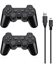 Powerextra PS-3 Controller 2 Pack Wireless Double Shock High Performance Gaming Controller with Upgraded Joystick for Play-station 3 Double Shock PS-3 Game Console