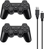 Powerextra PS-3 Controller 2 Pack Wireless Double Shock High Performance Gaming Controller with Upgraded Joyst