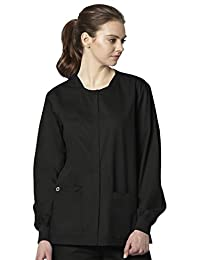 WonderWink WonderWORK Unisex Snap Front Scrub Jacket Large Black