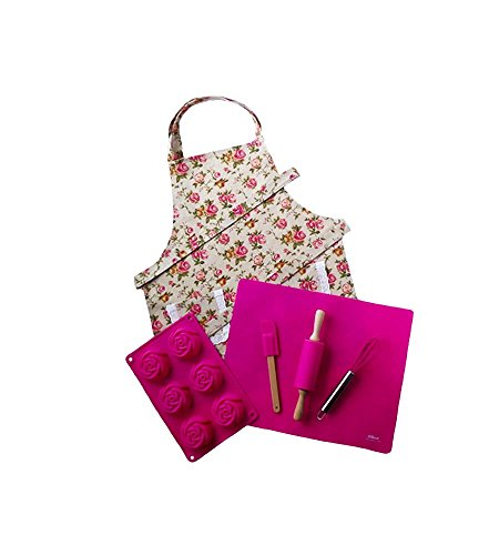 (Pink Kids Baking Set with Matching Personalized Floral Apron by Dikor)