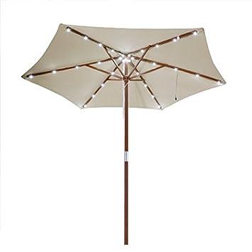 Elegant 8 Ft Outdoor Patio Umbrella With Solar LED Lights