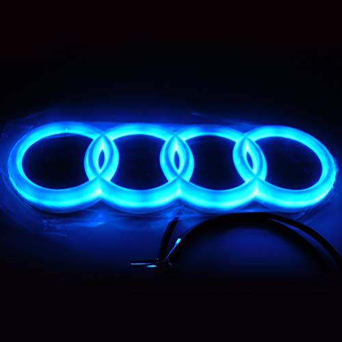 Front Blue Led - Jianzhucail Cool LED Emblem Logo Grid LED Badge Front Light, Front Car Grill Badge, Auto Illuminated Logo, Glowing Rings for Audi A3 S3 RS3 A4 A5 A6(273 x 93 mm Blue)