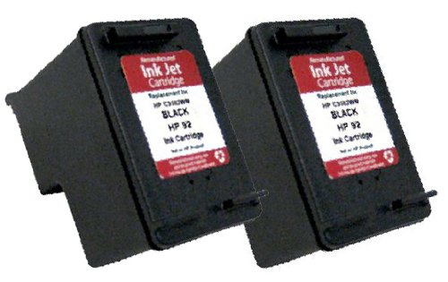 HouseOfToners Remanufactured Ink Cartridge Replacement for HP 92 C9362WN (2 Black, 2-Pack) (Black Ink C9362wn)