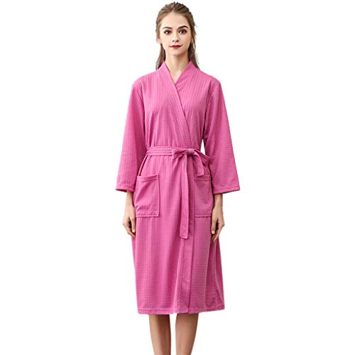 Clearance Sales Christmas Unisex Winter Kimono Robe Bathrobe Soft Sleepwear Waffle One Piece Splicing Lengthened Homewear (A_Hot Pink, XL)