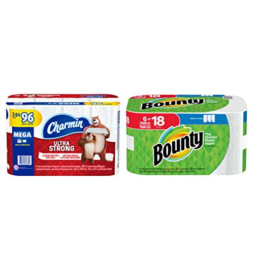 Charmin Ultra Strong Toilet Paper 24 Mega Roll, 286 Sheets Per Roll bundle with Bounty Select-A-Size Paper Towels, White, 6 Triple Rolls = 18 Regular Rolls