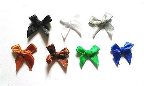 20 Satin Ribbon Bow - 120 Pcs - 7 colors Cute Satin BOW Ribbon Applique Embellishment Decoration - Size 20mm X 25 Mm Earth Tone Color