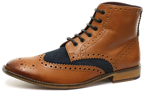 Richelieu Gatsby Brogue Navy Stivali Pelle Tan Uomo Suede Hi London q1vn5x