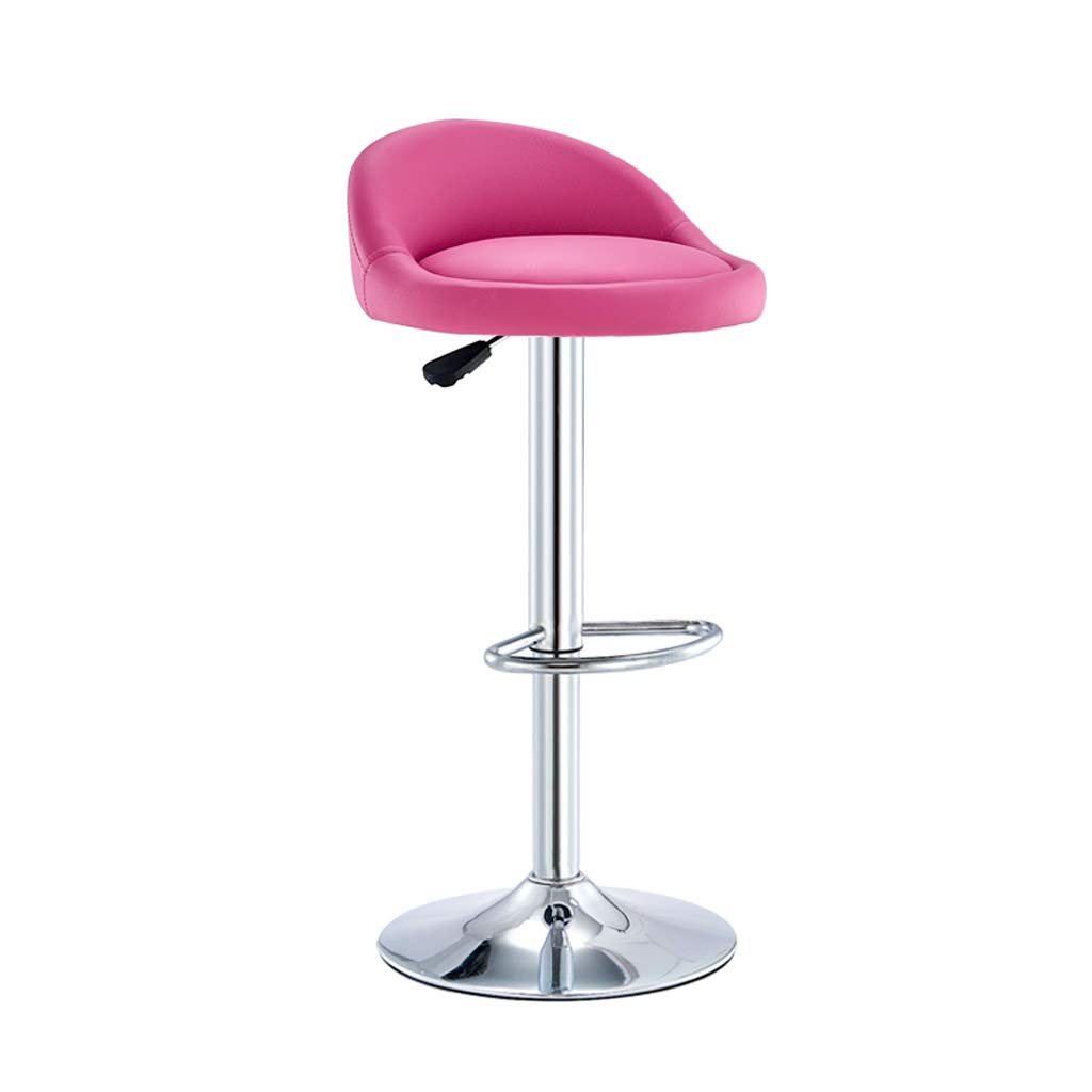 Pink XLZ Bar Stool, PU Leather Breakfast Bar Chair, Adjustable redating Gas Lift, Chrome Footrest Base, Home Kitchen Counter Height, 6 colors, 60-80cm Counter Chair,Breakfast Stool, (color   White+Pink)