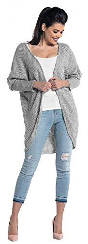 Grigio Ville Poncho Cardigan Zeta lungo 323z donna in maglia Mantella zwOwZq