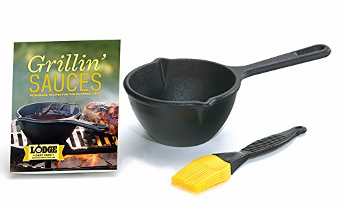 Lodge Grilling Sauces Kit with Melting Pot, Basting Brush, R