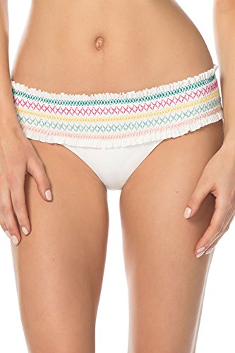 ISABELLA ROSE Women's Embroidered Smocked Banded Hipster Bikini Bottom White M