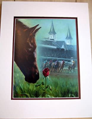 11x14 Run for the Roses Kentucky Derby By Celeste Susany Matted Art Print Race Horse Smells the Roses Chance of a Lifetime
