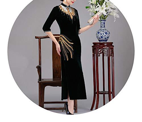 ラジカル不実ましいチャイナドレスベルベット唐のスーツ女性の中年の母親のドレスの女性のドレス,ダークグリーン,XL