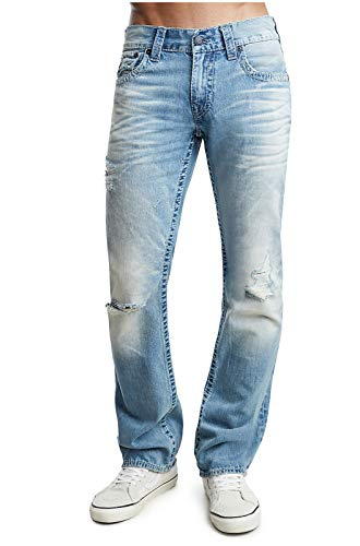 True Religion Men's Straight Leg Relaxed Fit Indigo Big T Jeans w/Flaps and Rips in Ocean Tide (34)