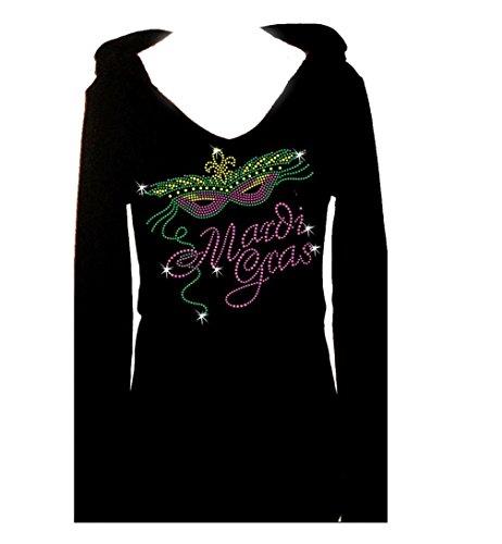 Mardi Gras Rhinestone St Patricks Day Womens Tee Shirt V Hoodie (s) (Mardi Gras Fashion)