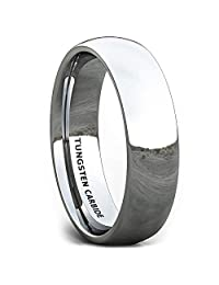 Mens Wedding Band 6mm Classic Polished Tungsten Ring Dome Comfort Fit