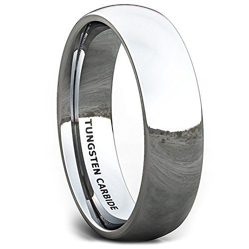 Duke Collections Mens Wedding Band 6mm Basic Simple Polished Tungsten Ring Dome Comfort Fit