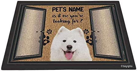 BAGEYOU Funny Samoyed Doormat is It Me You re Looking for Custom Dog s Name and Text Outdoor Rug Floor Mat 35.4 x 23.6