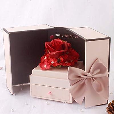 WSJS Regalos del día de San Valentín Doble jabón Puerta de la Caja de Regalo de Joyas Flor de lápiz Labial Creativo decoración para la Limpieza de Las Manos y los pies