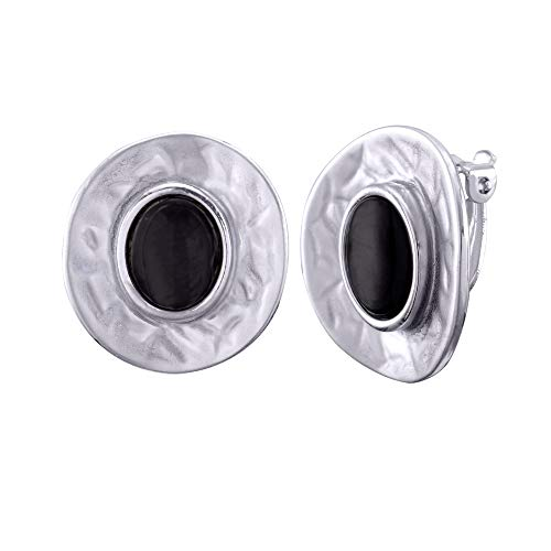 Clip On Stud for Women - Antique Silver Big Disc Circle Black Earrings Ear Drop for Non Pierced Ears Earring Bohemian Shell Stud Handmade Boho Bridal Earrings for Bride Bridesmaids Party Prom