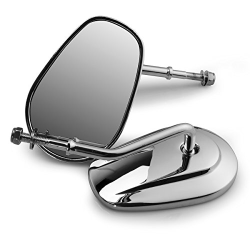 Iglobalbuy Teardrop Rearview Side Mirrors for Harley Davidson Harley Road King Fatboy Touring XL 883 Softail XL FLHTC (Silver)