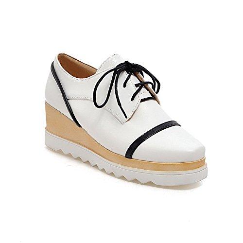 Amoonyfashion Damesschoenen Vierkant Gesloten Teen Gemengd Materiaal Assorti Kleur Kitten Hakken Pumps-schoenen Wit