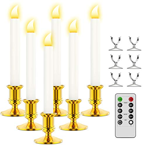 Ronxs Window Candles, 6 Pcs LED Candles with Timer, Outdoor Christmas Decorations Flameless Candles Battery Operated Flickering Candles with 1 Remote Controls, Gold Candle Holders, Suction Cups (Solar Window Candles)