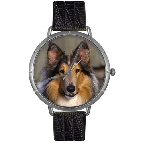 Collie Whimsical Watches Women's T0130004 Black Leather And Silvertone Photo Watch