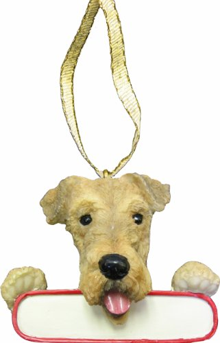 E&S Pets Airedale Terrier Ornament Santa's Pals with Personalized Name Plate A Great Gift for Airedale Terrier Lovers