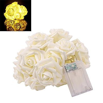 VIPMOON 2M 20LED String Lights Bright Warm Rose Flower Lamp Fairy Light Wedding Gardens Party Christmas Decoration