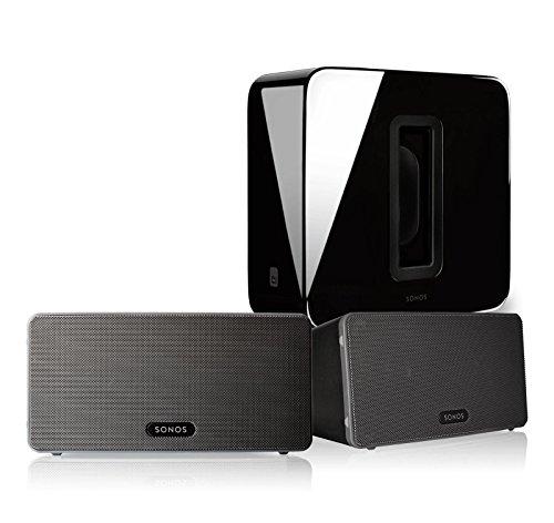 Sonos PLAY:3 (Black, Pair) Multi-Room Digital Music System Bundle & Sonos Wireless SUB (Black) by Sonos