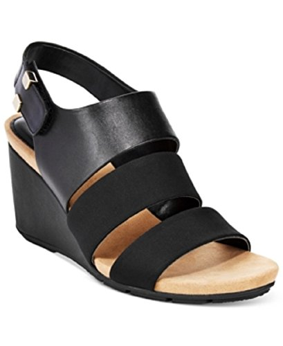 Alfani Womens Elleana Wedge Sandals Black 5M