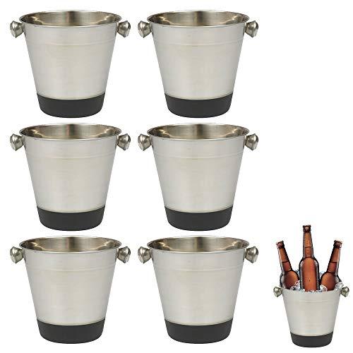 (6 Set Stainless Steel Ice Bucket Cooler Champagne Wine Bar Restaurant Drink)