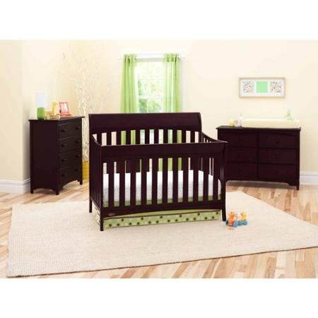 Rory 5-in-1 Convertible Fixed-Side Crib, Espresso, Fixed-